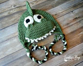 Dinosaur crochet braided earflap hat newborn, baby, toddler, child, adult sizes PDF Pattern Instant Download gift present