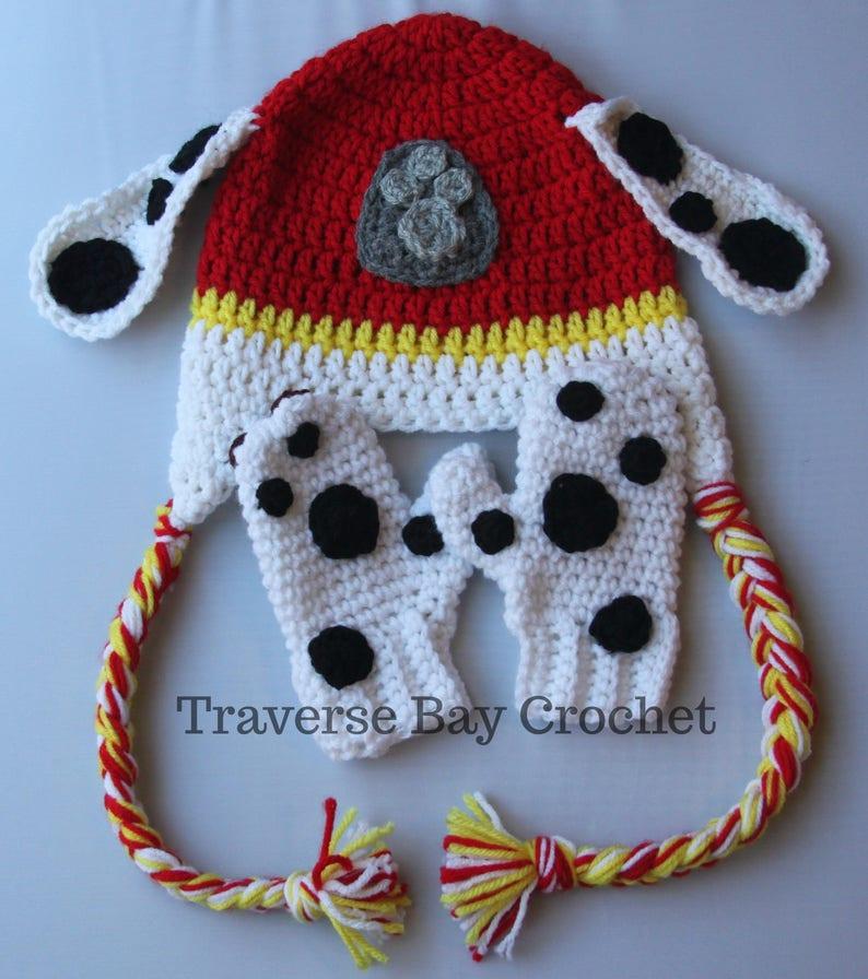 25d02dd24f2 Crochet Marshall Paw Patrol hat mitten set toddler child PDF