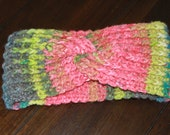Crochet twist headband green blue pink adult size gift present handmade MI designer