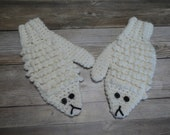 Lamb mittens child kid size fun novelty animal mittens gift present handmade MI designer