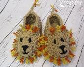 Crochet lion baby booties pattern PDF instant download present gift craft shows MI designer
