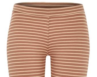 BIO Leggings - caramel/beige striped