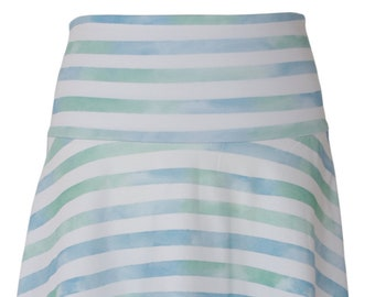 BIO Skirt Striped - Watercolor Stripes - Blue-Green