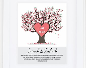 "Islamic wedding gift, Islamic wedding quote - personalised islamic wall art print 8X10"""
