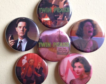 """Twin Peaks pin back buttons 1.25"""" set of 6"""