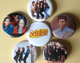 """Seinfeld pin back buttons 1.25"""" set of 6"""