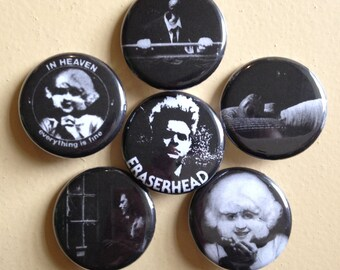 """Eraserhead pin back buttons 1.25"""" set of 6"""