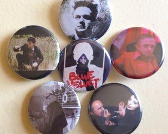 "David Lynch pin back buttons 1.25"" set of 6"