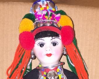Vintage Detailed Colorful Thai Chiangmai Akha Tribal Ethnic Doll
