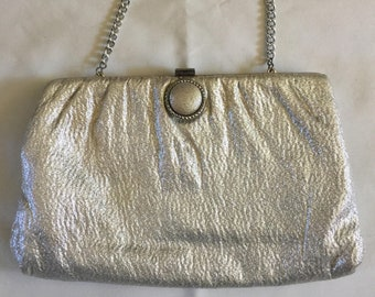Wife Birthday Gift EB-0441 Special Occasion Bag Wedding Handbag Vintage Whiting Davis Silver Mesh Evening Bag
