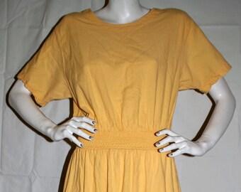 1970's Renata B Cotton Creations Large Artsy Flirty Boho Yellow Dress 100% Cotton Size L