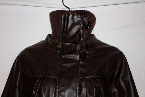 ~ cuir tricoté de Bomber L Russe moto par Charlotte Veste Crop simili ZipUp marron Sz lcFK1TJ
