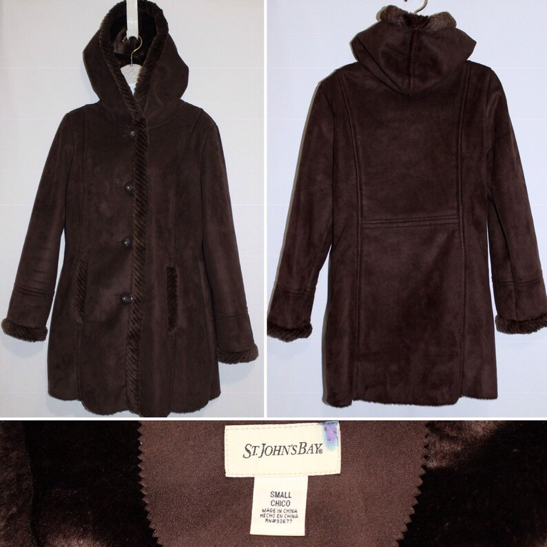 St John/'s Bay Brown Suede Fabric Jacket Size S