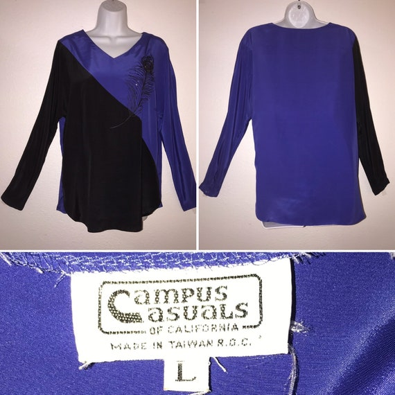 Campus Casuals Blouse Long Sleeves Blue and Black