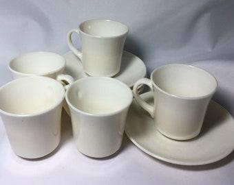 Vintage Arcopal ~ France ~ 5 Sets Teacups and Saucers