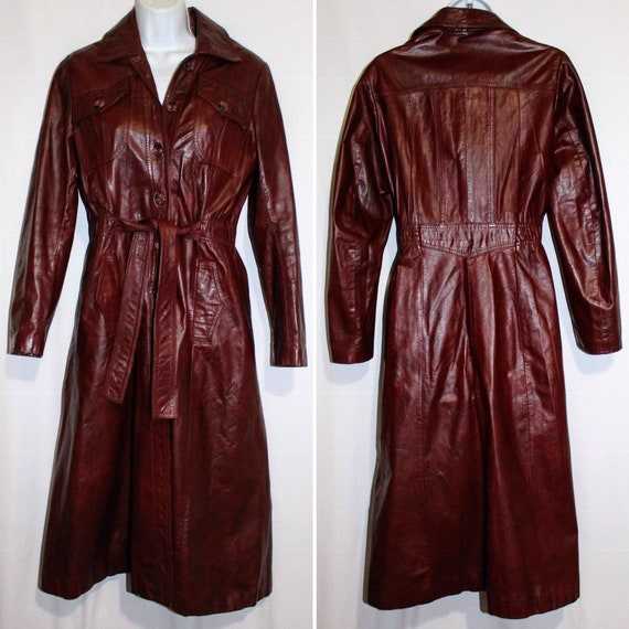 Vintage Soft Leather Coat Belted Trench by Wilsons