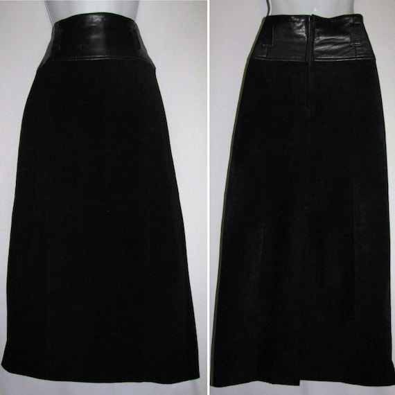 Cedars Black Leather A-Line Long Skirt Size 8
