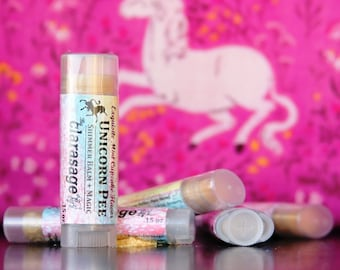 Clarasage Unicorn Pee Lip Balm with Shimmer Magic & Cocoa Butter -  98% Organic