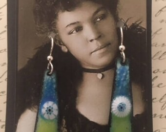 Multi colored enameled earrings