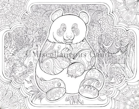 Feuille De Coloriage Panda Faim Etsy