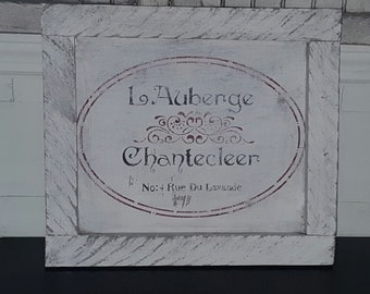 Rustic French inn sign/let auberge/home decor/bedroom