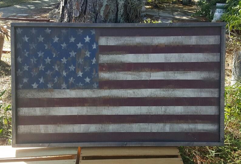 f179ff0267ca Vintage look Distressed wood framed American Flag Wall