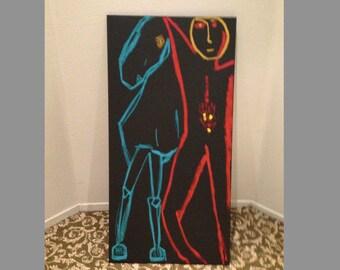 ORIGINAL SIGNED PAINTING Oil On Canvas Horse Rider Le Cavalier Marino Marini Jean Michel Basquiat Style California Artist Street Art Pop Rad