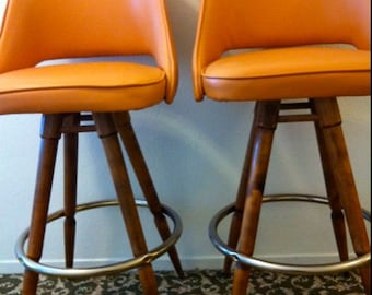 MID CENTURY PAIR Orange Naugahyde Vinyl Wood Barstool Calorator Danish  Eames Era Mod Mad Men Chair Dowel Legs