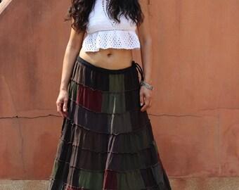 3b2e686959 Patchwork Skirt / Long Skirt / Full Length Skirt / Maxi Skirt / Boho Skirt  / Cotton Skirt / High Waist Skirt / Lined Skirt / Modest Skirt