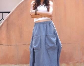 f871522418 Boho Skirt   Long Skirt   Boho Maxi Skirt   Lined Skirt   Cotton Maxi Skirt    Modest Skirt   Maxi Skirt  Color Slate Blue