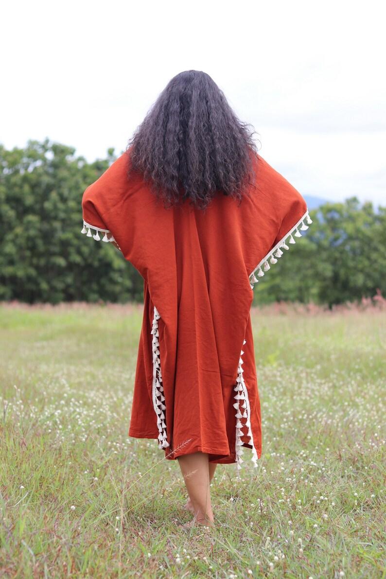Kaftan Dress Color Burnt Orange Beach Wear Oversized Top Beach Kaftan Summer Dress Plus Size Kaftan Plus Size Tunic