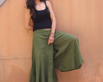 Wide Leg Pants / Skirt Pants / Culottes Pants / Flared Pants / Bell Bottom Pants / Wide Legged Pants / Cotton Pants / Color Green