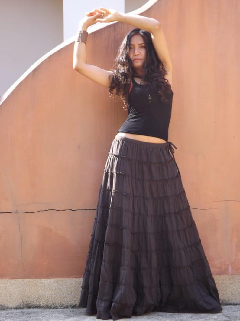 b030def7f2 Long Skirt / Boho Skirt / Maxi Skirt / Brown Skirt / Full Length Skirt /  Cotton Skirt / Tiered Skirt / Modest ...