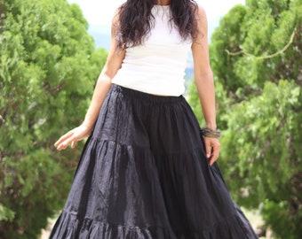 Long Skirt / Long Boho Skirt / Maxi Skirt / Full Length Skirt / Black Skirt / Cotton Skirt / Modest Skirt / Formal Skirt / Floor Length