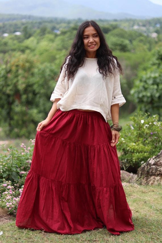 Long Skirt Boho Skirt Maxi Skirt Deep Red Skirt Full Length Skirt Cotton Skirt Tiered Skirt Modest Skirt Soft and Floaty