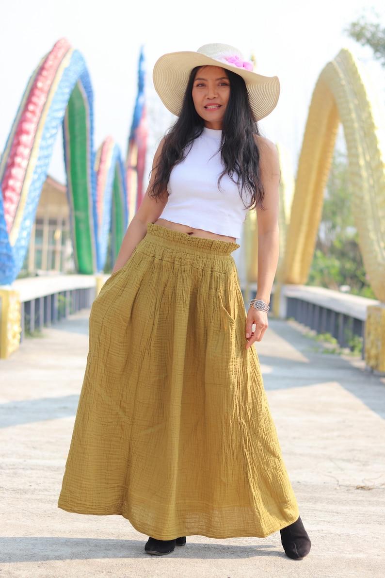 Modest Skirt Full Length Skirt Gauze Cotton Skirt Long Skirt Color Mustard Wrinkled Cotton Skirt Maxi Skirt Long Boho Skirt