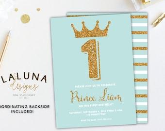Prince Birthday Invitation, Boy Birthday Invitation, Blue & Gold Birthday, Little Prince Birthday Party, Little Prince Invitation