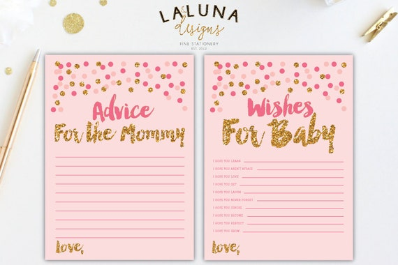 Wishes For Baby Printable Advice For Mommy To Be Card Wishes Etsy