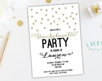 Bachelorette Invitation, Bachelorette Party Invitation, Glitter Bachelorette Invitation, Printable, Gold Glitter, Silver Glitter