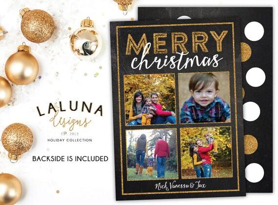 Christmas Card, Photo Christmas Card, Chalkboard Christmas Card, Glitter Christmas Card, Holiday Card, DIY Printable Christmas Card