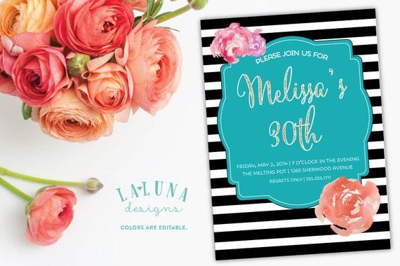 30th Birthday Invitation 40th Printable Invite Black And White Stripe Floral