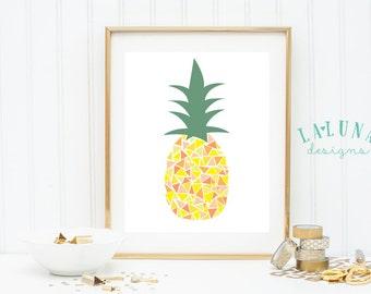 Pineapple Print, Pineapple Wall Art, Pineapple Art, Pineapple Decor