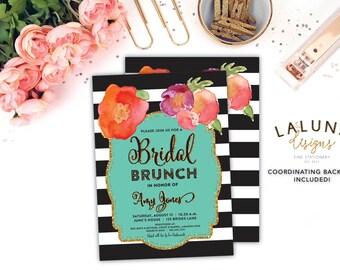 Bridal Shower Invitation, Bridal Brunch Invitation, Printable Bridal Shower Invitation, Bridal Shower Invites, Black & White Stripe