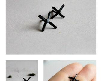 X studs, stud earrings, Cross earrings, X earrings, minimalist studs, silver post earrings, black studs, sterling silver studs