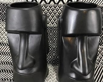 Vintage Tiki Mugs * Easter Island Moai Head * Bar Ware Set of 2
