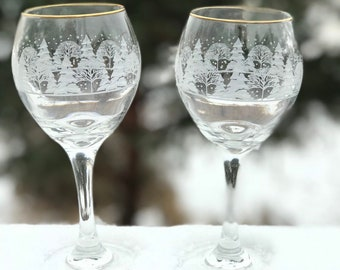 1980's Collectible Arbys 'Winter Wonderland' Etched Trees Wine Glasses * Stemware