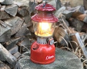 1963 Coleman Lantern Rustic Cabin Decor Red 200A Single Mantle Working Condition