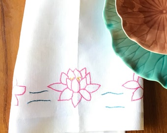 Hand-crafted Linen Tea Towel * Embroidered Lotus Flowers * Water Lily Embroidery