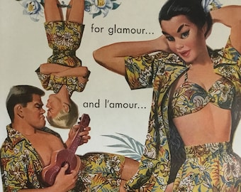 For Glamour and L'Amour Vintage Jantzen Advertisement * Sportswear * Swimwear * Swimming Suits * Cabana Set
