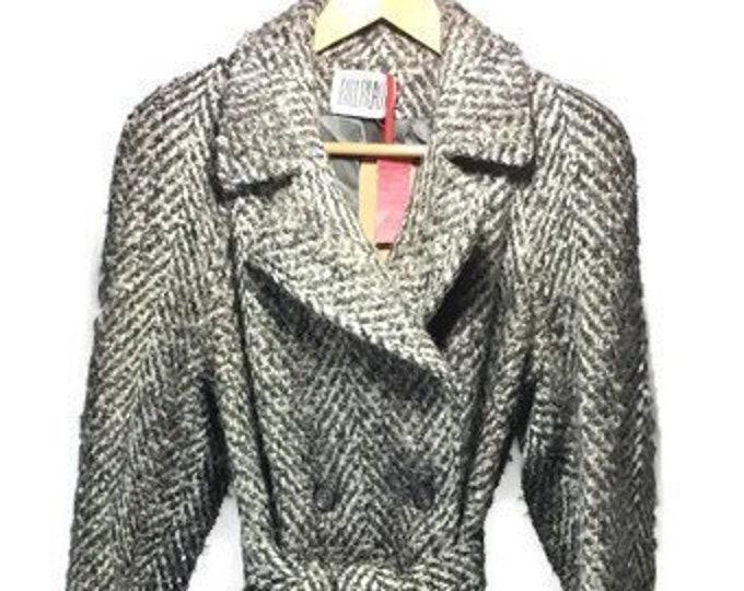 Vintage Bill Blass Maxi Coat * Wool Herringbone